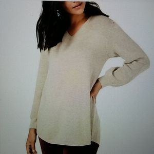 NWT Style and Co v-neck beige puff sleeve sweater